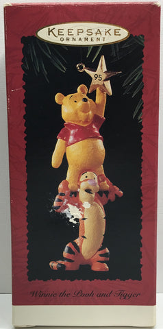 (TAS033084) - 1995 Hallmark Keepsake Ornament Holiday Winnie The Pooh and Tigger, , Ornament, Hallmark, The Angry Spider Vintage Toys & Collectibles Store  - 1