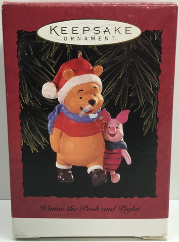 (TAS033088) - 1996 Hallmark Keepsake Ornament Holiday Winnie The Pooh and Piglet, , Ornament, Hallmark, The Angry Spider Vintage Toys & Collectibles Store  - 1