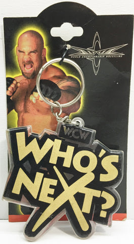 (TAS033163) - 1999 Starline WCW Wrestling Plastic Keychain Goldberg Who's Next?, , Keychain, Wrestling, The Angry Spider Vintage Toys & Collectibles Store  - 1