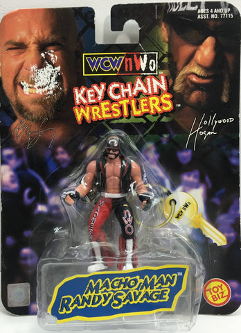 (TAS033195) - 1998 Toy Biz WCW WWE Keychain Wrestlers - Macho Man Randy Savage, , Keychain, Wrestling, The Angry Spider Vintage Toys & Collectibles Store  - 1