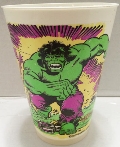 (TAS033314) - 1977 Marvel 7 Eleven Plastic The Incredible Hulk Drinking Cup, , Drinkware, Marvel, The Angry Spider Vintage Toys & Collectibles Store  - 1