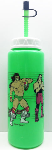 (TAS033338) - 1991 Titan Sports WWE WWF Plastic Sip Bottle Green Hulk Hogan, , Drinkware, Wrestling, The Angry Spider Vintage Toys & Collectibles Store  - 1