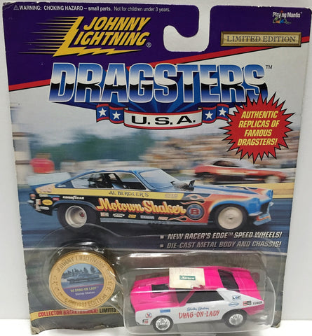 (TAS033446) - 1995 Johnny Lightning Dragsters U.S.A. Die-Cast Metal Drag-On-Lady, , Trucks & Cars, Johnny Lightning, The Angry Spider Vintage Toys & Collectibles Store  - 1