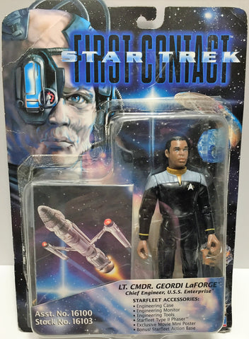 (TAS033521) - 1996 Playmates Star Trek First Contact LT. CMDR. Geordi LaForge, , Action Figure, Star Trek, The Angry Spider Vintage Toys & Collectibles Store  - 1