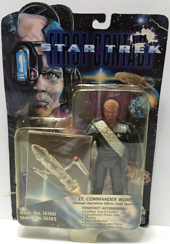 (TAS033730) - 1996 Playmates Star Trek First Contact Figure - Lt. Commander Worf, , Action Figure, Star Trek, The Angry Spider Vintage Toys & Collectibles Store  - 1