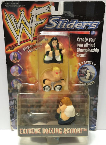"(TAS033738) - 1999 Hasbro WWF Wrestling Sliders ""Extreme Rolling Action"" 3 Pack, , Action Figure, Wrestling, The Angry Spider Vintage Toys & Collectibles Store  - 1"