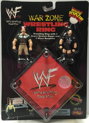 (TAS033768) - 1998 JusToys WWF Wrestling Micro Bend-Ems War Zone Wrestling Ring, , Action Figure, Wrestling, The Angry Spider Vintage Toys & Collectibles Store  - 1