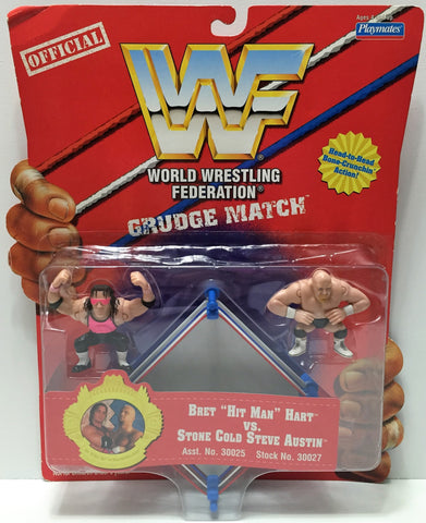 (TAS033770) - 1997 Playmates WWF Wrestling Grudge Match - Hart vs. Steve Austin, , Action Figure, Wrestling, The Angry Spider Vintage Toys & Collectibles Store  - 1