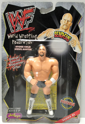 (TAS033909) - 1999 Titan Sports WWF Wrestling Bend-Ems - Stone Cold Steve Austin, , Action Figure, Wrestling, The Angry Spider Vintage Toys & Collectibles Store  - 1
