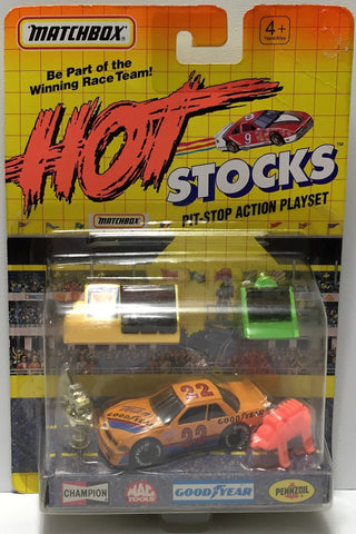 (TAS033937) - 1991 Matchbox Hot Stocks Pit-Stop Action Playset Goodyear #22, , Trucks & Vehicles, Matchbox, The Angry Spider Vintage Toys & Collectibles Store  - 1