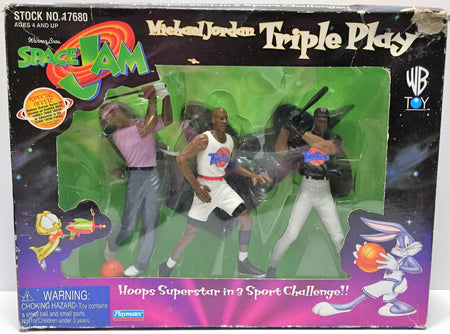 (TAS034125) - 1996 Playmates Space Jam Michael Jordan Triple Play Hoop Superstar, , Action Figure, Playmates, The Angry Spider Vintage Toys & Collectibles Store  - 1