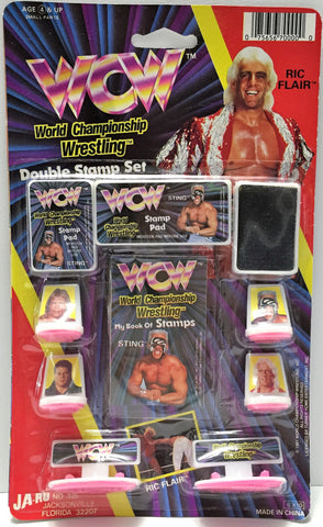 (TAS034210) - 1991 Turner Home Ent WCW Wrestling Double Stamp Set - Ric Flair, , Stampers, Turner Home Entertainment, The Angry Spider Vintage Toys & Collectibles Store  - 1