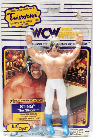 "(TAS034211) - 1990 JusToys Bendable WCW Wrestling Twistable Sting ""The Stinger"", , Action Figure, Wrestling, The Angry Spider Vintage Toys & Collectibles Store  - 1"