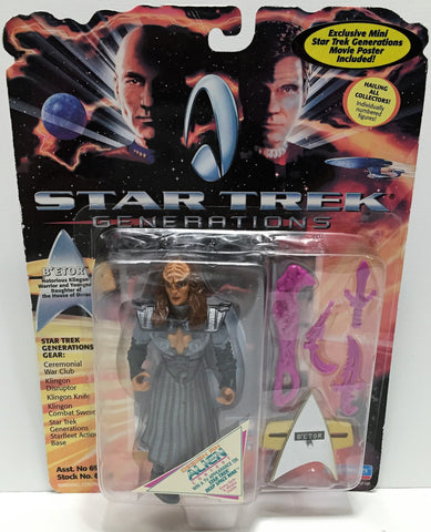 (TAS034221) - 1994 Playmates Star Trek Generations Action Figure - B'etor, , Action Figure, Star Trek, The Angry Spider Vintage Toys & Collectibles Store  - 1