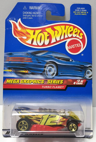 (TAS034424) - 1998 Mattel Hot Wheels Die-Cast - Mega Graphics Series Turbo Flame, , Trucks & Cars, Hot Wheels, The Angry Spider Vintage Toys & Collectibles Store  - 1