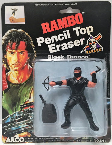 (TAS034966) - 1986 Arco Industries Rambo Pencil Top Eraser - Black Dragon, , Pencils, Arco, The Angry Spider Vintage Toys & Collectibles Store  - 1