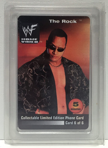 (TAS034973) - 2000 WWF Home Video Collectible Wrestling Phone Card - The Rock, , Other, Wrestling, The Angry Spider Vintage Toys & Collectibles Store  - 1