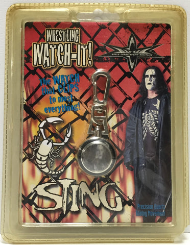(TAS035370) - 1999 WCW Wrestling Watch-It Clip-On Watch - Sting, , Watches, Wrestling, The Angry Spider Vintage Toys & Collectibles Store  - 1