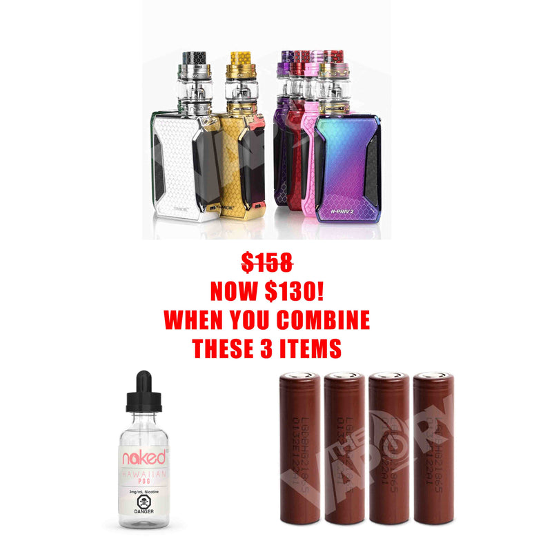 SMOK H-PRIV 2 STARTER KIT + BATTERIES + E-LIQUID = SAVE UP TO $28