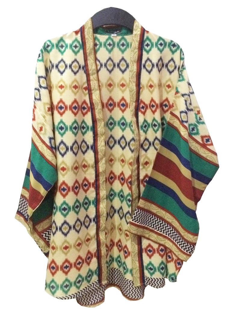 Hana Ikat Print Kimono Top - Size M in Red, Green, Blue, Olive