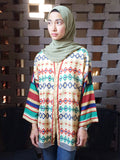 Hana Ikat Print Kimono Top in Red, Green, Blue, Olive - Size M