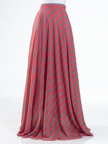 Celine Long Flared Skirt in Gray and Coral Stripes