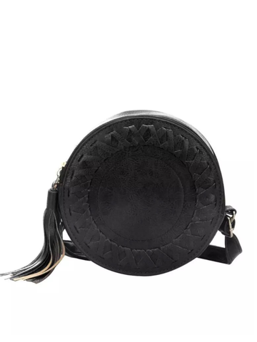 Round Bag with Tassel In Black