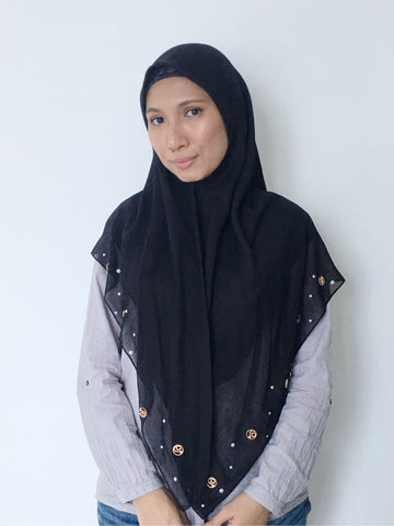 Aidijuma Black Square Scarf with Logo and Pearl Embellishments