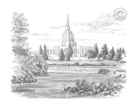 Idaho Falls Temple Sketch (11x14 Print)