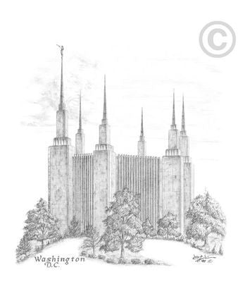 Washington, D.C. Temple Sketch (5x7 Print)