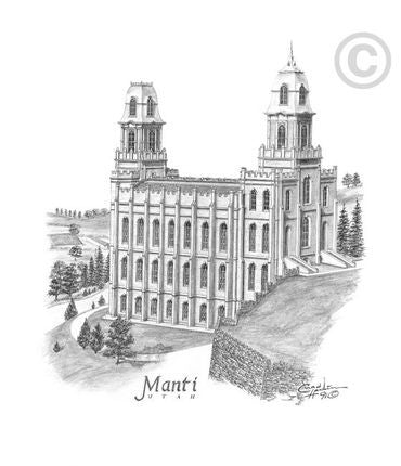 Manti Temple Sketch (8x10 Matted Print)