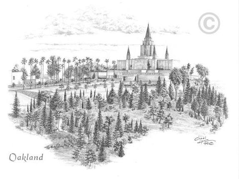 Oakland Temple Sketch (11x14 Print)