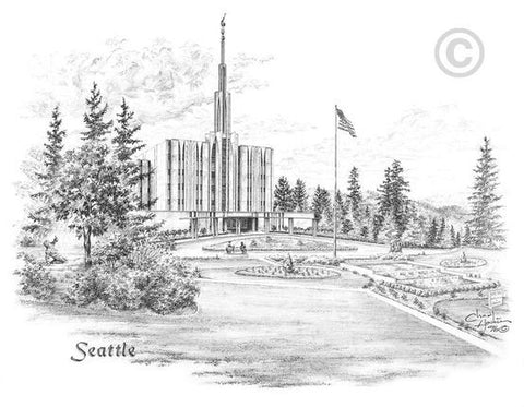 Seattle Temple Sketch (5x7 Print)