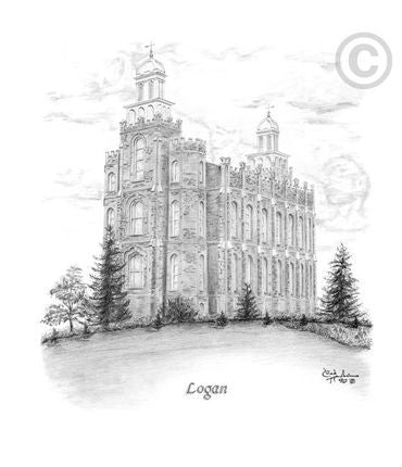 Logan Temple Sketch (16x20 Print)