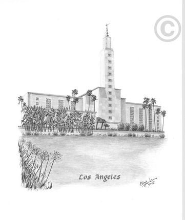 Los Angeles Temple Sketch (16x20 Print)
