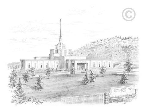 Billings Temple Sketch (5x7 Print)