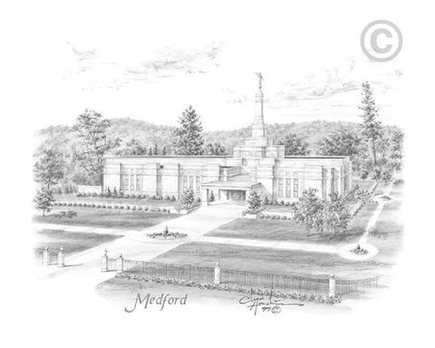 Medford Temple Sketch (8x10 Matted Print)