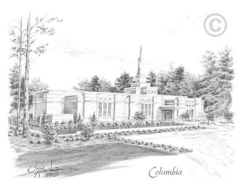 Columbia Temple Sketch (11x14 Print)