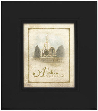 Custom Black Idaho Falls Temple Art (15x17 Framed Art) (Framed Art)