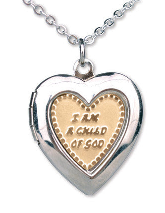 Gold & Silver Child of God Heart Locket (Necklace)