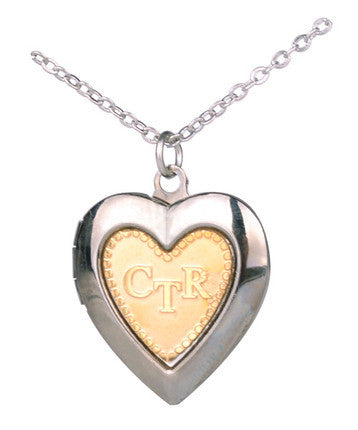 CTR Heart Locket, Gold and Silver (Necklace)