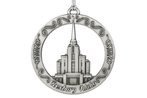 Rexburg Idaho Temple Ornament (Silver Finish)