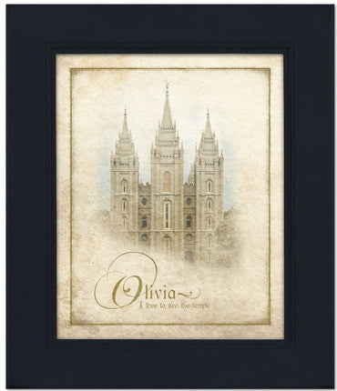 Custom Black Salt Lake Temple Art (15x17 Framed Art) (Framed Art)
