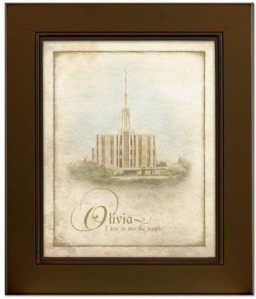 Custom Brown Seattle Temple Art (15x17 Framed Art) (Framed Art)