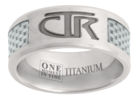 Titanium with White Carbon Inlay CTR Ring (Size 9)