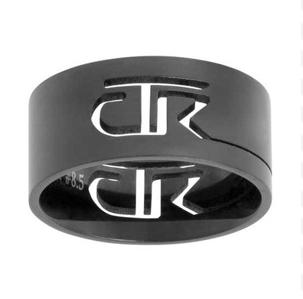 Black Cut-Out Stainless Steel CTR Ring (Size 7.5)