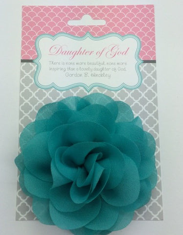 "Aqua Hair Flower hair accessory 3? chiffon fabric flower €"" Daughter of God"
