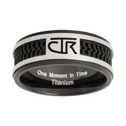 Black Titanium Rubber Inlay CTR Ring (Size 8.5)