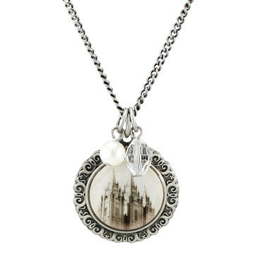 Salt Lake Temple Cameo Necklace
