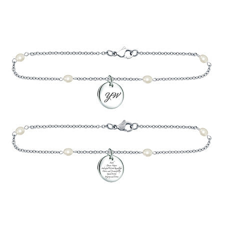 "Bracelet ""Young Women€™s"" Stainless Steel w/Pearl chain K12B"